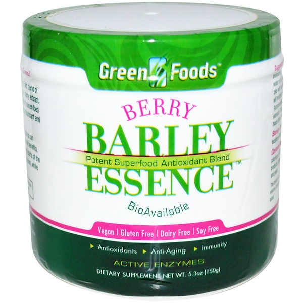 Green Foods, Berry Barley Essence, Potent Superfood Antioxidant Blend, 5.3 oz (150 g) (Discontinued Item)