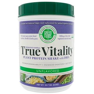 Green Foods Corporation, True Vitality、プラント・プロテイン・シェイク、 DHA配合、味付け無し、22.7 oz (644 g)