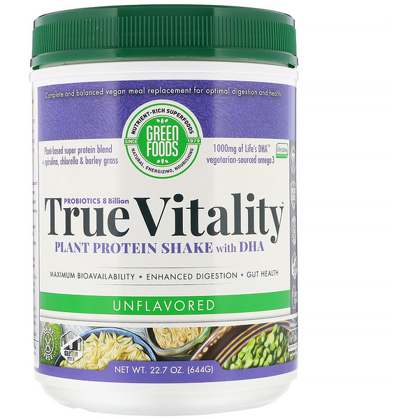 Green Foods , True Vitality, Plant Protein Shake with DHA, Unflavored, 22.7 oz (644 g) (Discontinued Item)