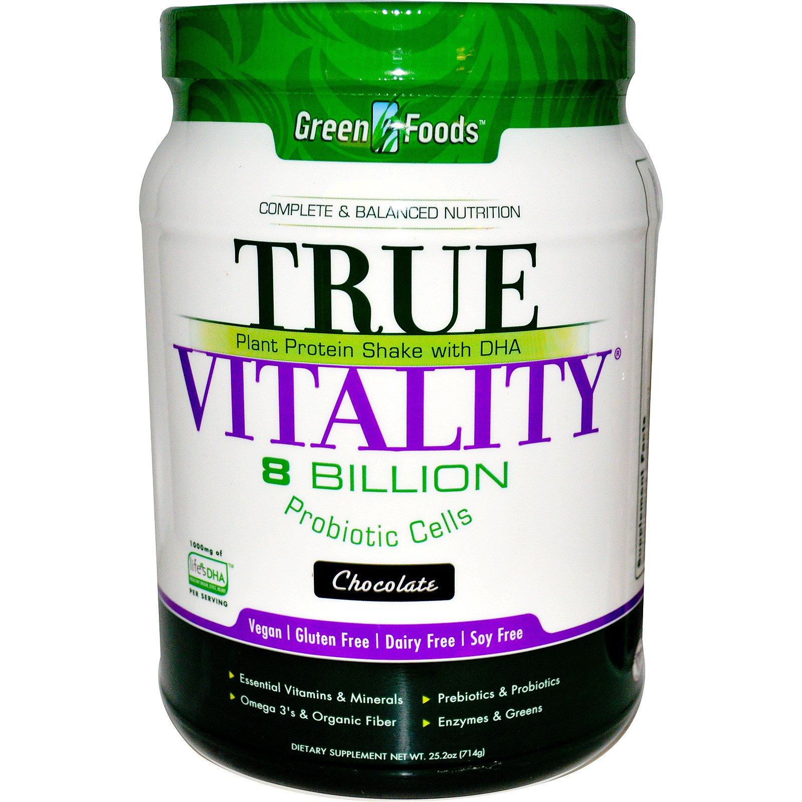 Green Foods Corporation, True Vitality, Растительный протеиновый шейк с DHA, шоколад 25.2 унции (714 г)
