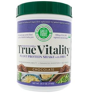 Green Foods Corporation, トゥルーバイタリティ、 プラントプロテイン シェイクDHA、 チョコレート、 25.2 oz (714 g)