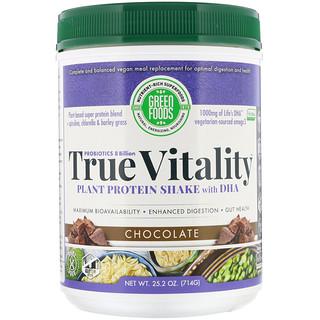 Green Foods Corporation, Vitalidade Verdadeira, Shake de Proteínas de Plantas com DHA, Chocolate, 25.2 oz (714 g)