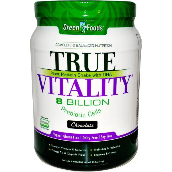 Green Foods Corporation, True Vitality, Plant Protein Shake with DHA, Chocolate, 25.2 oz (714 g)