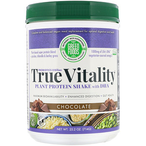 Грин Фудс Корпорэйшн, True Vitality, Plant Protein Shake with DHA, Chocolate, 1.57 lbs (714 g) отзывы покупателей