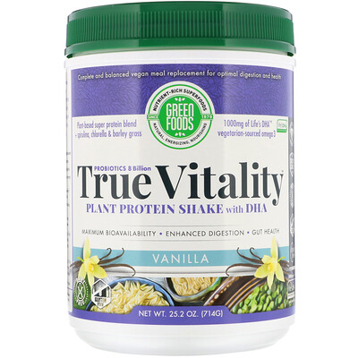 True Vitality, Plant Protein Shake with DHA, Vanilla, 25.2 oz (714 g)