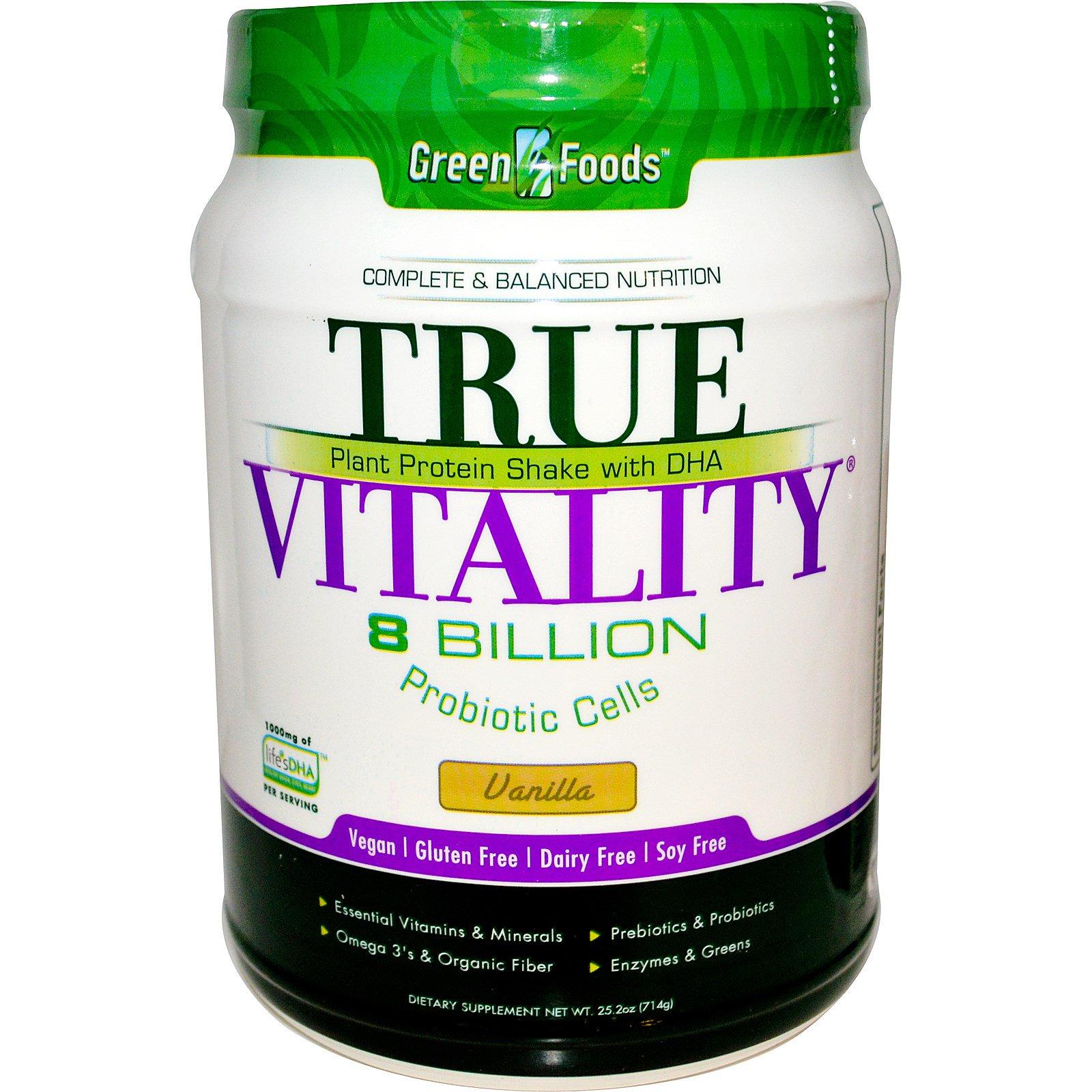 Green Foods Corporation, True Vitality, Растительный протеиновый шейк с DHA, ваниль 25.2 унции (714 г)