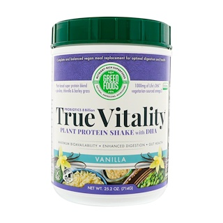 Green Foods Corporation, True Vitality, Plant Protein Shake with DHA, Vanilla, 25.2 oz (714 g)