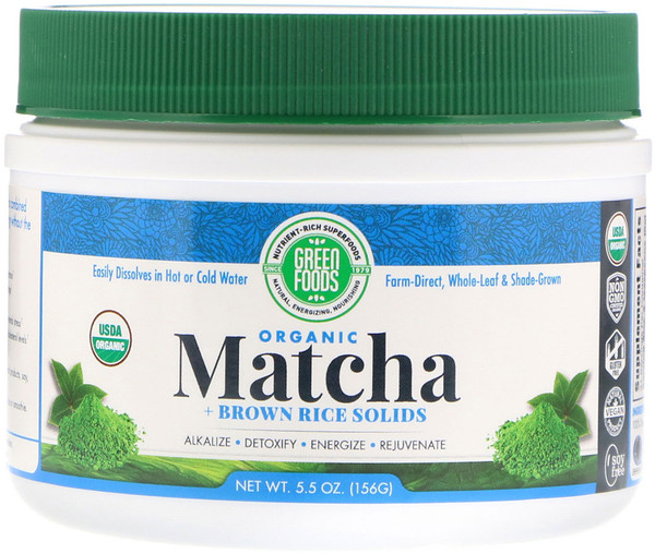 Green Foods Corporation, Organic Matcha Green Tea + Brown Rice Solids, 5.5 oz (156 g)