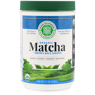 Green Foods Corporation, Organic Matcha Green Tea + Brown Rice Solids, 11 oz (312 g)