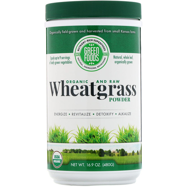 Green Foods Corporation, Organic and Raw Wheatgrass Powder, 16.9 oz (480 g)