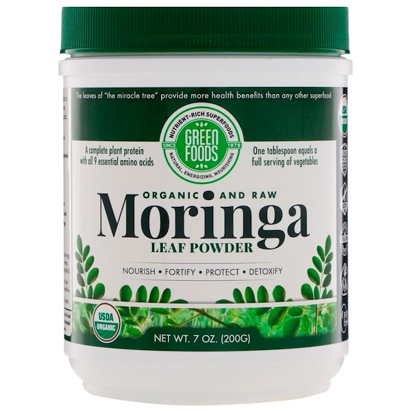 Green Foods Corporation, Organic and Raw, Moringa Leaf Powder, 7 oz (200 g)