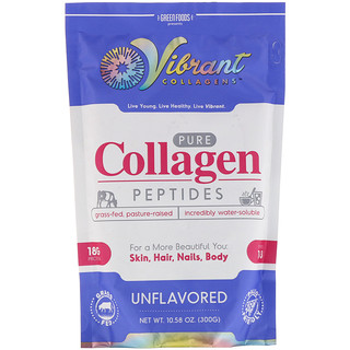 Green Foods Corporation, Vibrant Collagens, Pure Collagen Peptides, Unflavored, 10.58 oz (300 g)
