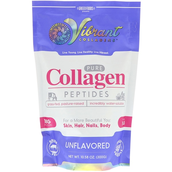 Green Foods Corporation, Vibrant Collagens, Pure Collagen Peptides, Unflavored, 10、58 oz (300 g)