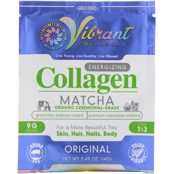 Green Foods , Vibrant Collagens, Energizing Collagen Matcha, Original,  0.49 oz (14 g) (Discontinued Item)