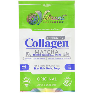 Green Foods Corporation, Vibrant Collagens, Energizing Collagen Matcha, Original, 2.47 oz (70 g)