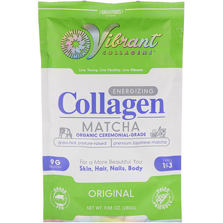 Green Foods Corporation, Vibrant Collagens, Energizing Collagen Matcha, Original, 9.88 oz (280 g)