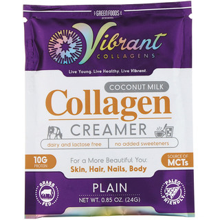 Green Foods Corporation, Vibrant Collagens, Coconut Milk Collagen Creamer, Plain, 0.85 oz (24 g)