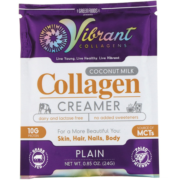 Green Foods, Vibrant Collagens, Coconut Milk Collagen Creamer, Plain, 0.85 oz (24 g) (Discontinued Item)