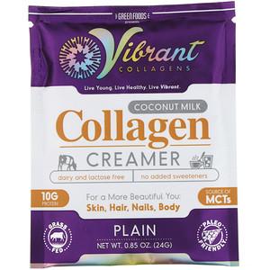 Грин Фудс Корпорэйшн, Vibrant Collagens, Coconut Milk Collagen Creamer, Plain, 0.85 oz (24 g) отзывы покупателей