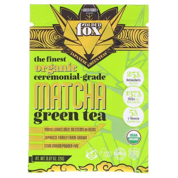 Green Foods Corporation, Folded Fox, Organic Matcha Green Tea, 0、07 oz (2 g)