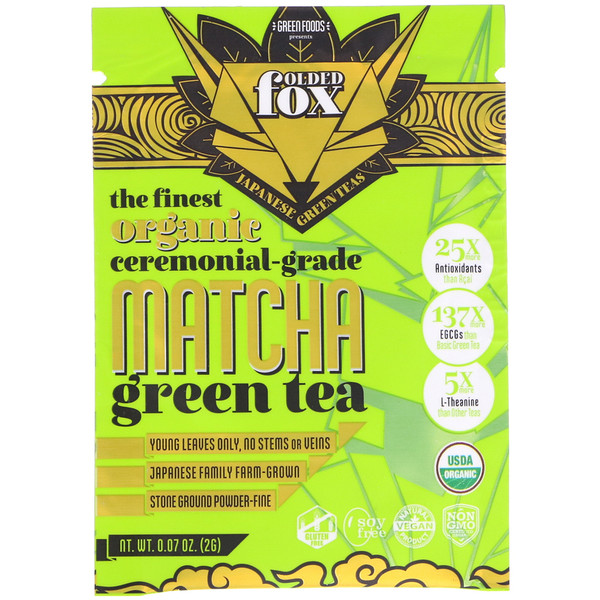 Green Foods , Folded Fox, Té verde matcha orgánico, 0.07 oz (2 g) (Discontinued Item)