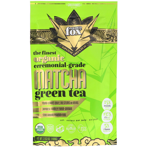 Green Foods , Folded Fox, Organic Matcha Green Tea, 3.53 oz (100 g)