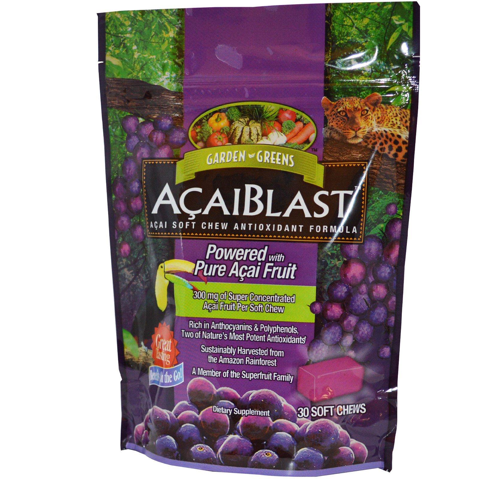 Garden Greens, «AcaiBlast» Антиоксидантная Жевательная Добавка с Асаи, 30 мягких жевательных таблеток