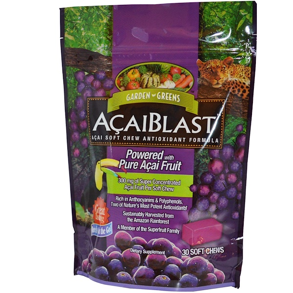 Garden Greens, AcaiBlast, Acai Soft Chew Antioxidant Formula, 30 Soft Chews (Discontinued Item)