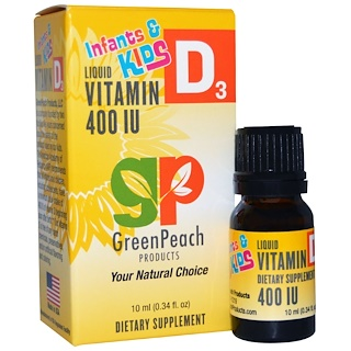 GreenPeach, Infants & Kids, Liquid Vitamin D3, 400 IU, 0.34 fl oz (10 ml)