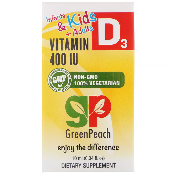GreenPeach, Infants & Kids + Adults , Liquid Vitamin D3, 400 IU, 0.34 fl oz (10 ml)