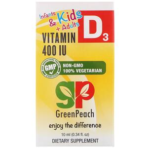 Грин Пич, Infants & Kids + Adults, Vitamin D3, 400 IU, 0.34 fl oz (10 ml) отзывы покупателей