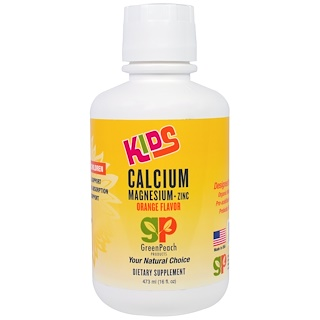 GreenPeach, Kids, Calcium Magnesium + Zinc, Orange Flavor, 16 fl oz (473 ml)