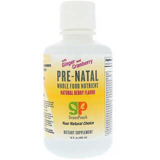 GreenPeach, Pre-Natal, Whole Food Nutrient, Natural Berry Flavor, 16 fl oz (480 ml)