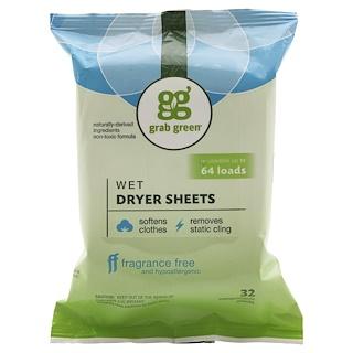 GrabGreen, Wet Dryer Sheets, Fragrance Free, 32 Compostable Sheets