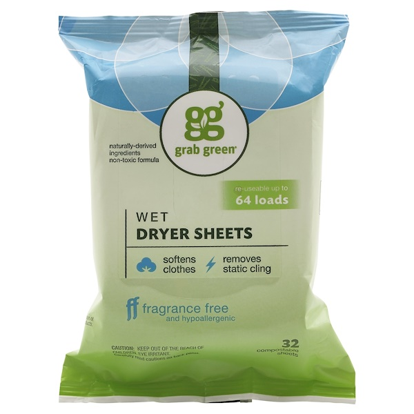 Grab Green, Wet Dryer Sheets, Fragrance Free, 32 Compostable Sheets