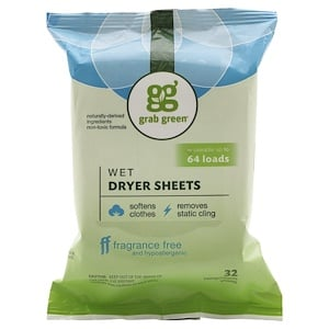 ГрэбГрин, Wet Dryer Sheets, Fragrance Free, 32 Compostable Sheets отзывы