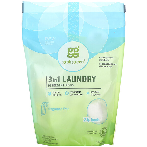 Grab Green, 3-in-1 Laundry Detergent Pods, Fragrance Free, 24 Loads, 13.5 oz (384 g)