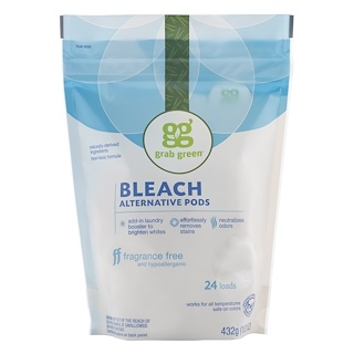 GrabGreen, Bleach Alternative Pods, Fragrance Free, 24 Loads, 15.2 oz (432 g)