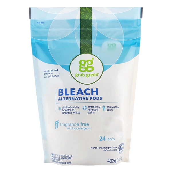 Grab Green, Bleach Alternative Pods, Fragrance Free, 24 Loads, 15.2 oz (432 g)