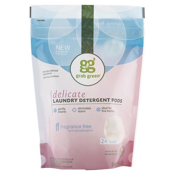 GrabGreen, Delicate Laundry Detergent Pods, Fragrance Free, 24 Loads, 8.4 oz (240 g)