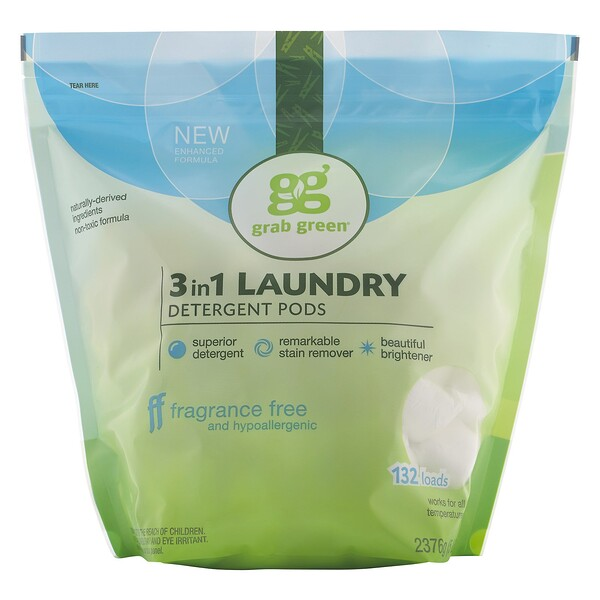 GrabGreen, 3-in-1 Laundry Detergent Pods, Fragrance Free, 132 Loads (Discontinued Item)