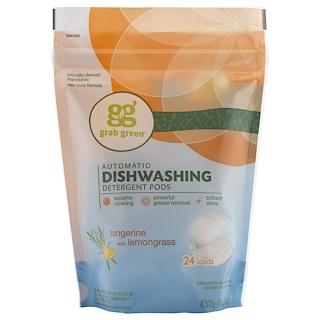 Grab Green, 자동 식기세척 용 세제 포드, 레몬그라스 탄제린, 24 개 세척그릇, 15.2 온스 (432 그램)