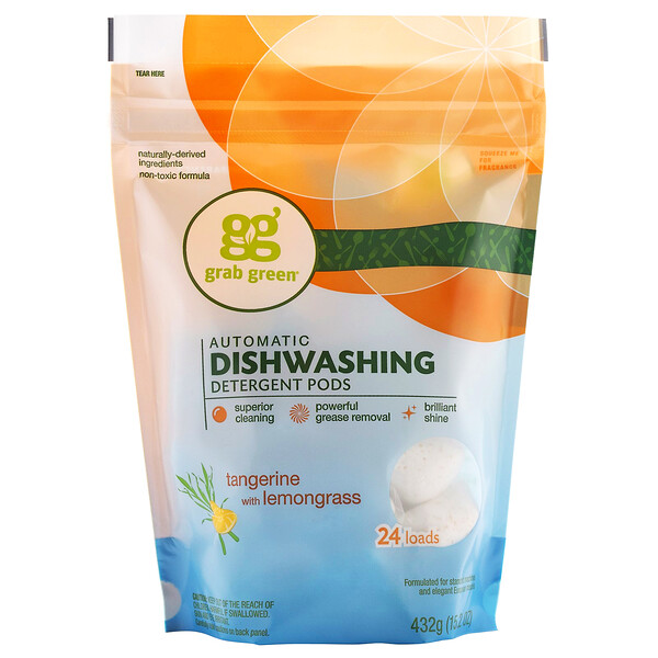 Grab Green, Automatic Dishwashing Detergent Pods, Tangerine with Lemongrass, 24 Loads, 15.2 oz (432 g)