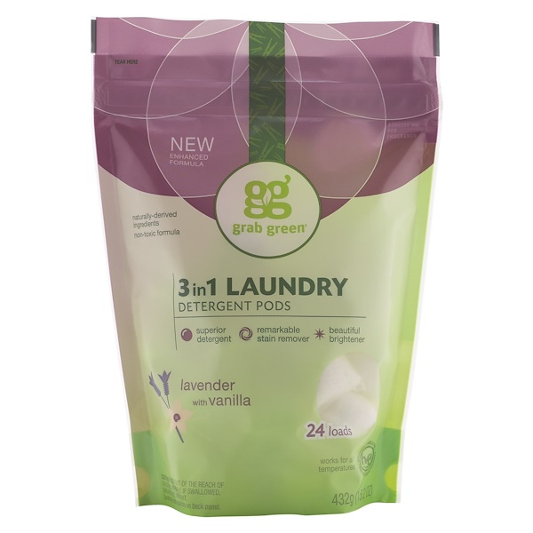 Grab Green, 3 in 1 Laundry Detergent Pods, Lavender, 24 Loads, 15.2 أونصة (432 غ)
