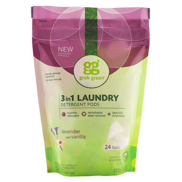 Grab Green, 3 in 1 Laundry Detergent Pods, Lavender, 24 Loads, 15.2 oz (432 g)