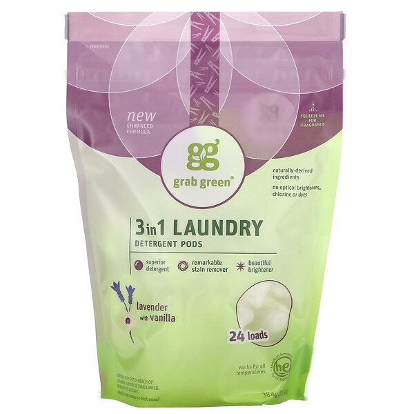 Grab Green, 3 in 1 Laundry Detergent Pods, Lavender with Vanilla, 24 Loads, 13.5 oz (384 g)