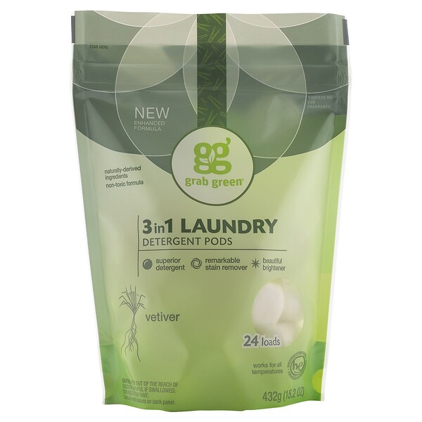 Grab Green, 3 in 1 Laundry Detergent Pods, Vetiver, 24 Loads, 15.2 oz (432 g) (Discontinued Item)