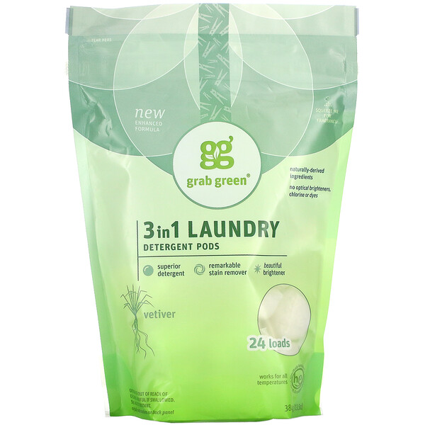 3 in 1 Laundry Detergent Pods, Vetiver, 24 Loads, 13.5 oz (384 g)