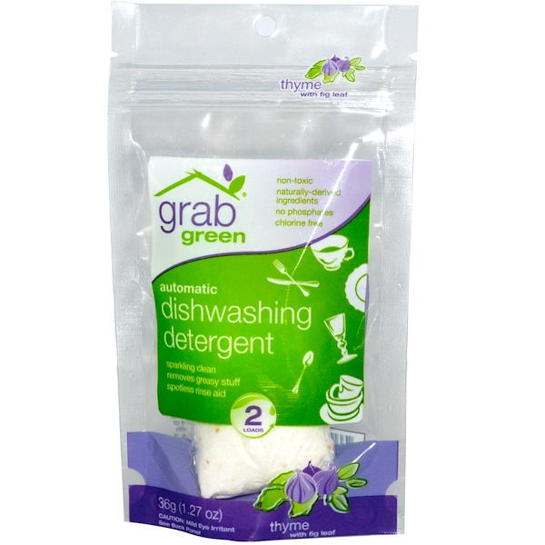 GrabGreen, Automatic Dishwashing Detergent, Thyme with Fig Leaf, 2 Loads, 1.27 oz (36 g) (Discontinued Item)