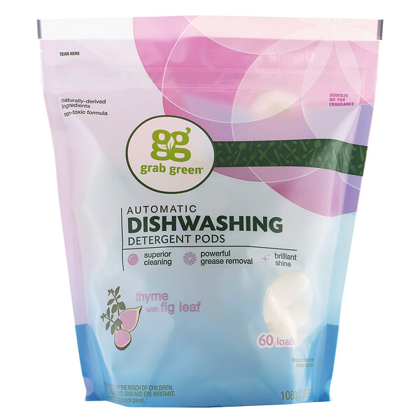 Automatic Dishwashing Detergent Pods, Thyme with Fig Leaf, 60 Loads,2lbs, 6oz (1,080 g)